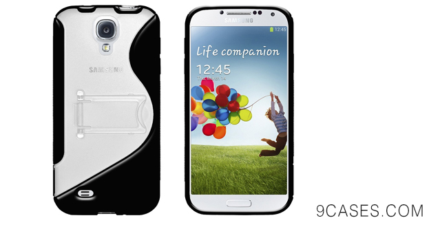 Amzer AMZ95693 Protective TPU Skin Case Cover with Kickstand for Samsung GALAXY SIV GT-i9500