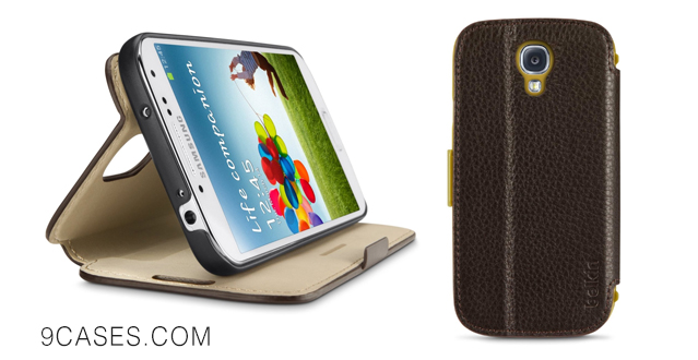Belkin Leather Wallet Folio and Case Cover with Stand for Samsung Galaxy S4