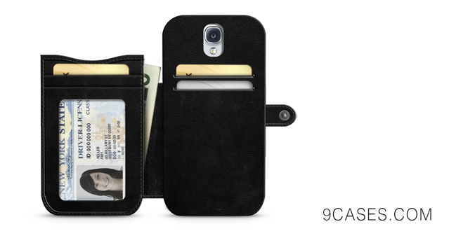 iLuv SS4MODEBK Modena Premium Leather Wallet Case for Samsung Galaxy S4 - 1 Pack - Retail Packaging