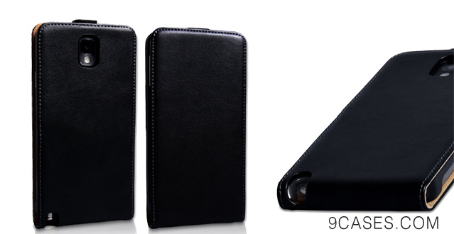 04-Yousave Samsung Galaxy Note 3 Case Black Genuine Leather Flip Cover