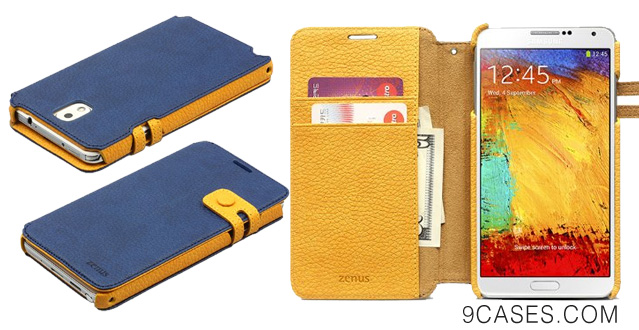 05-Zenus Samsung Galaxy Note 3 Color Edge Diary Wallet Case Cover [Royal Navy] High End Italian Synthetic Leather Case for Galaxy Note III