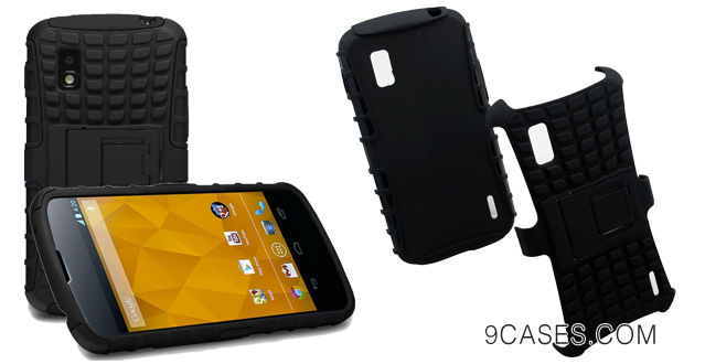 06-KaysCase ArmorBox Heavy Duty Cover Case for Google Nexus 4 Smart Phone E960 (Black) - New Model Fit Guaranteed