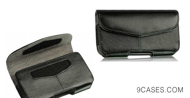 06-Nokia Lumia 1020 Black Leather Case Pouch With Center Stitches Velcro Closure Built In Belt Clip And Belt Loop