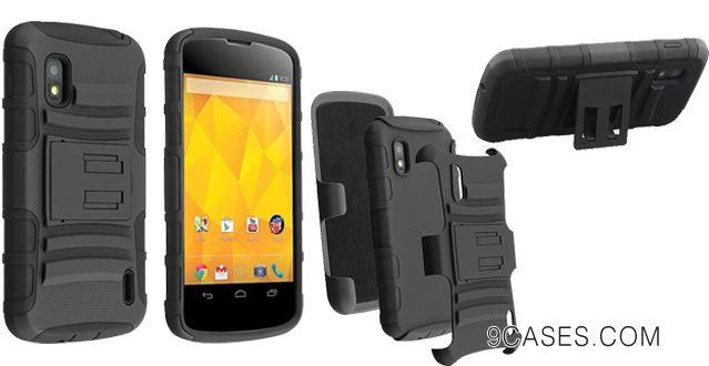 07-Black Hybrid Armor Cover Case with Stand for Lg Nexus 4 E960 by ApexGears