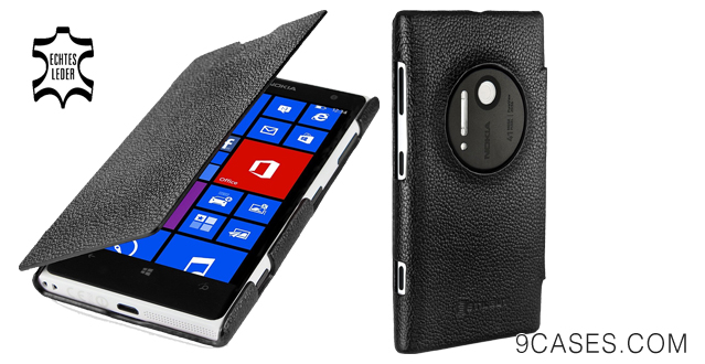 09-StilGut UltraSlim Genuine Leather Case for Nokia Lumia 1020 in Book Type Style, black