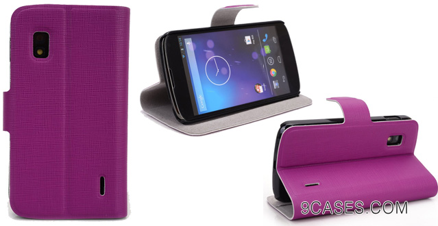 10-Kroo SGN4DHM1 Leather Card Holder Case with Kickstand for Nexus 4 - 1 Pack - Retail Packaging - Orchid Magenta