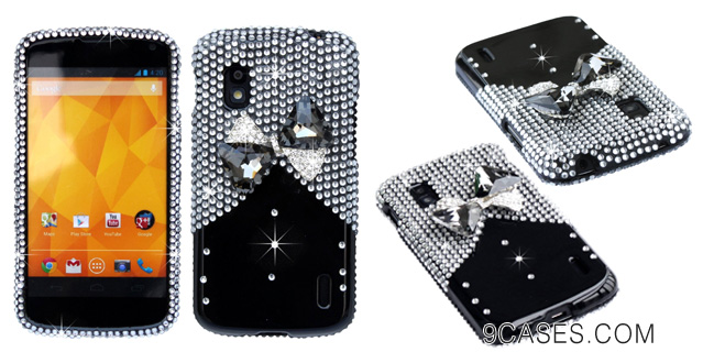 The Friendly Swede 3D Diamond Rhinestone Bling Case (Black and Silver Glass Bow Tie)