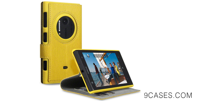 19-Nokia Lumia 1020 Low Profile Faux Leather Wallet Case with Viewing Stand - By Covert (Yellow)