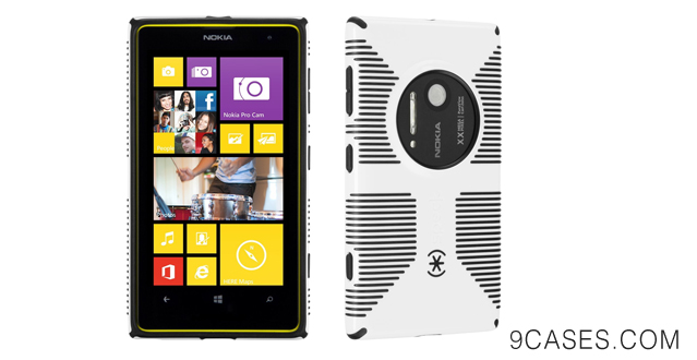20-Speck Products Candy Shell Grip Case for Nokia Lumia 1020 - Retail Packaging - White Black