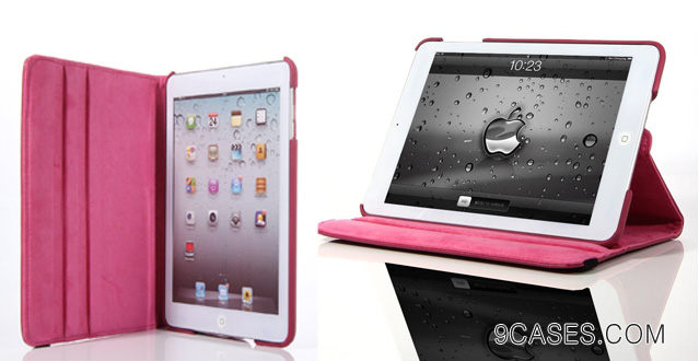 ATC (Hot Pink) 360 Degrees Slim Rotating Stand Leather Case Cover for Apple iPad mini 7