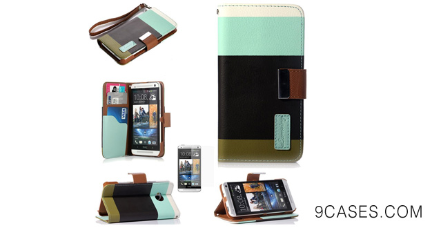 ATC Lumsing Flip ID Card Wallet Colorful PU Leather Purse Design Case Cover Stand for HTC ONE M7 with Screen Protector  Stylus Pen