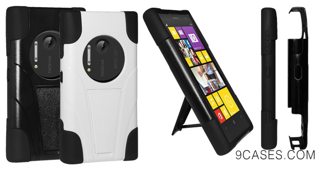 Amzer AMZ96174 Amzer Double Layer Hybrid Case Cover with Kickstand for Nokia Lumia 1020