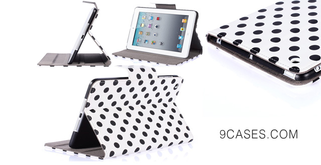Blason Dalmation Series Auto Wake  Sleep Smart Cover Book Shell Stand case Cover for Apple New iPad Mini Wifi 3G 4G LTE with Built-in Stand and Polka Dot Design (White Black)