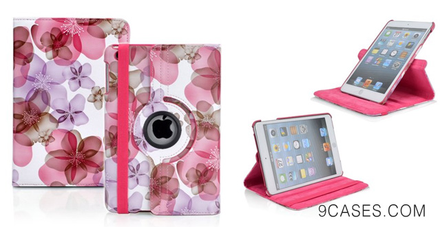 Ctech Stylish (Pink Flower) PU Leather Case With 360 degrees Rotating Swivel Stand