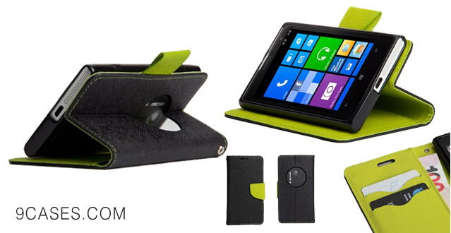 GMYLE (TM) Black and Green PU Leather Magnetic Flip Slim Fit Wallet Purse Stand Case Cover for Nokia Lumia 1020