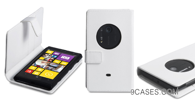 Nokia Lumia 1020 Case White PU Leather Wallet Cover
