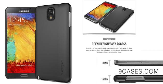 [SF COATED] SPIGEN Samsung Galaxy Note 3 Case Slim [Ultra Fit] [Smooth Black] Rubbery Feel Non-Slip Grip Matte Hard Case for Galaxy Note III