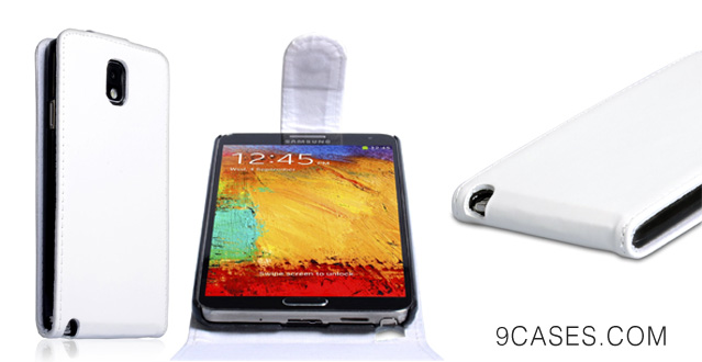 Yousave Samsung Galaxy Note 3 Case White PU Leather Flip Cover With Car Charger