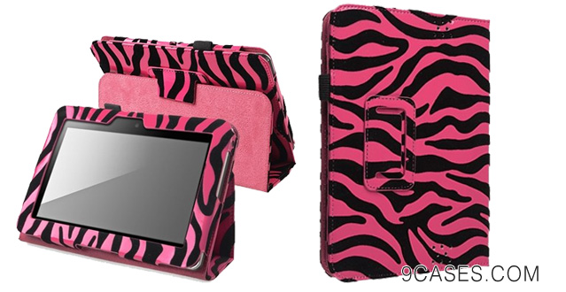 02-eForCity Leather Standing Case with Pen Holder Compatible with Amazon Kindle Fire HD 7-inch, Hot Pink Zebra