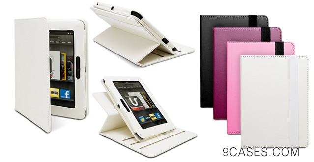 07-GreatShield VOGUE Series Rotating Leather Case with Stand for Amazon Kindle Fire HD 7 Tablet 1st Generation, 2012 - Icy White