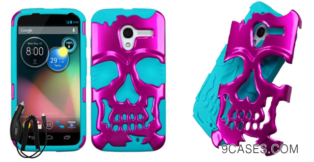 08-MOTOROLA MOTO X PHONE PINK TEAL SKELETON SKULL HYBRID COVER HARD GEL CASE +FREE CAR CHARGER from [ACCESSORY ARENA]