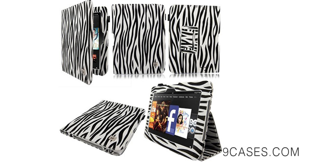 12-Cellularvilla (Tm) for Amazon Kindle Fire Hd 7 7 Inch Tablet Slim Fit Pu Leather Book Style Flip Folio Portfolio with Auto Sleep wake Feature Stand Case Cover Protector Many Color Options Available Zebra