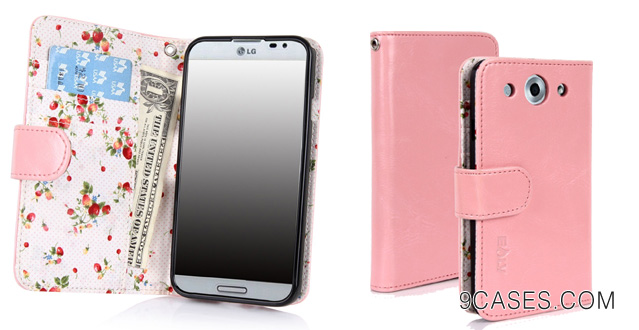 13-E-LV Deluxe Synthetic Leather Wallet Case Cover with Premium Interior Design for LG Optimus G Pro E940 E980 with 1 Stylus (Baby Pink)