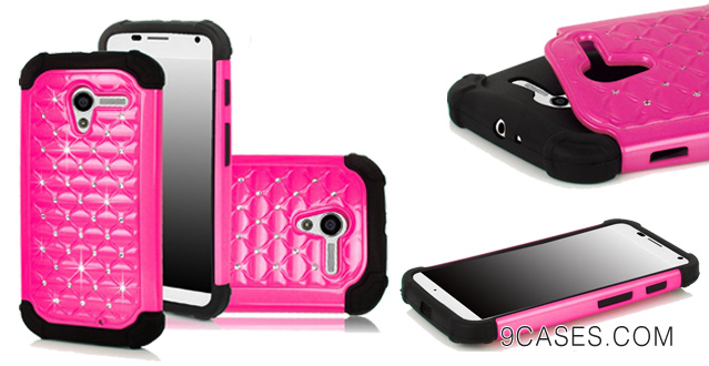 13-E-LV Motorola Moto X by Google Studded Rhinestone Dual Layer Hybrid Bling Case Skin Cover with Stylus and E-LV Microfiber Digital Cleaner - Hot Pink