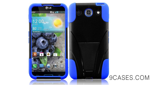 15-For LG Optimus G Pro E980 T-Stand Impact Kickstand Hybrid Double Layer Fusion Cover Case Black Blue