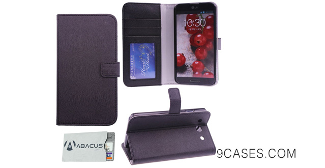 17-Cell Phone Fashion Leather Folio Case & Wallet for LG Optimus G Pro E980 - Black with Abacus24-7 RFID Blocking Sleeve