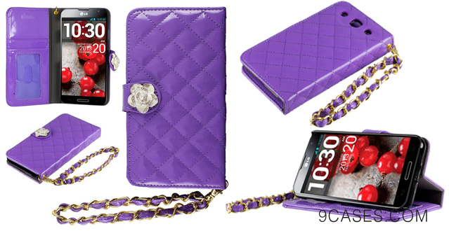 21-HHI LG Optimus G Pro Quilted Purse Wallet Case PURPLE with Crystal Flower Bling and Hand Strap Package include a HandHelditems Sketch Stylus Pen