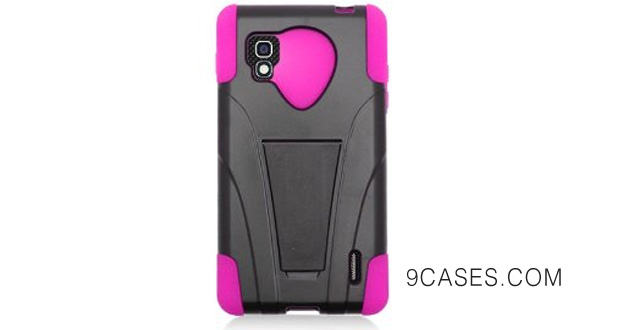 24-Dual Layer Cover w Kickstand for LG Optimus G (Sprint) LS970, Black Hot Pink