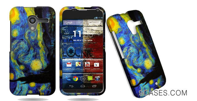 25-CoverON® Hard Slim Design Case for Motorola Moto X - with Cover Removal Pry Tool - Blue Yellow Starry Night