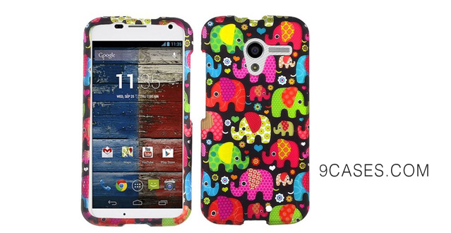 26-Hot Pink Green Red Blue Elephant Hard Faceplate Case Cover Faceplate For Motorola Moto X with Free Pouch