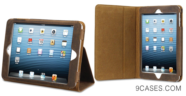 Acase iPad Mini 2 Genuine Leather Case / Cover with Built-in Stand - Support Smart Cover Function for iPad Mini / iPad Mini 2 with Retina Display