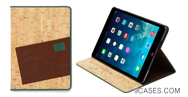 01-Zenus Apple iPad Air A-Cork Diary Case Cover [Green] High End Synthetic Leather Carrying Case with Folio Kickstand for iPad 5
