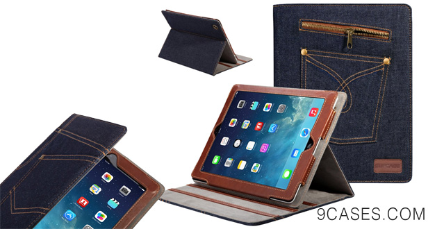 02-SUPCASE Jeans Series for New Apple iPad Air Slim Fit Folio Case (Blue) - Multi-angle Stand, Support Auto Sleep Wake Smart Cover Function, Compatible with iPad 5 5th Generation