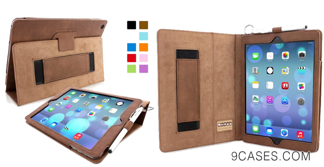03-Snugg iPad Air (iPad 5) Case in Distressed Brown Leather Flip Cover and Stand with Automatic Wake Sleep Elastic Hand Strap & Soft Premium Nubuck Fibre Interior to Protect Apple iPad Air iPad 5 Includes Lifetime Guarantee