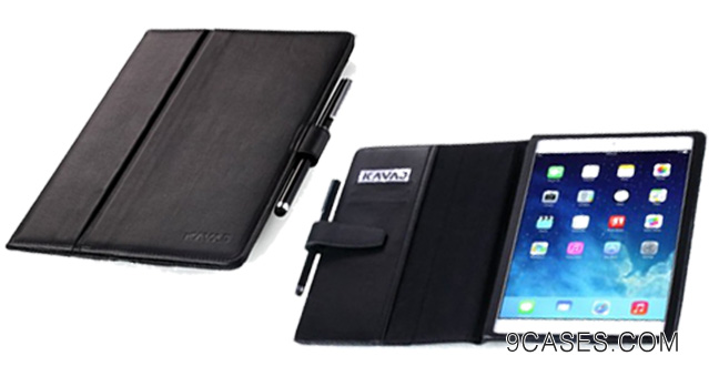 05-KAVAJ iPad Air leather case cover London for the new Apple iPad Air black - genuine leather with stand-up feature including stylus
