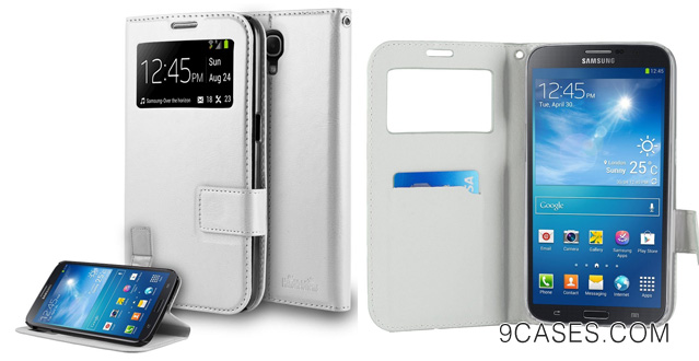 08-HHI Samsung Galaxy Mega 6.3 S-View Flip Wallet Case with Stand WHITE Slim Style with Folio Flip Cover Support Auto Sleep and Wake Feature for Galaxy Mega 6