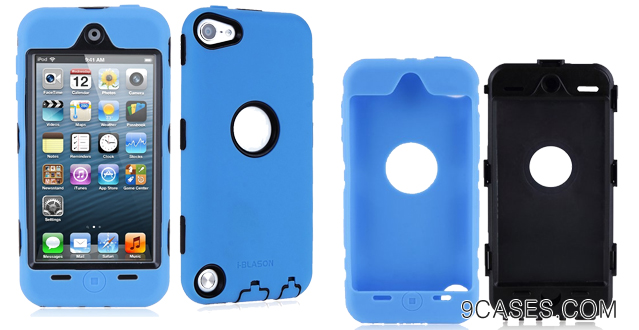 08-i-Blason ArmorBox Hybrid 3 Layer Defender Case with Built-In Screen Protector for iPod touch 5G (Blue)