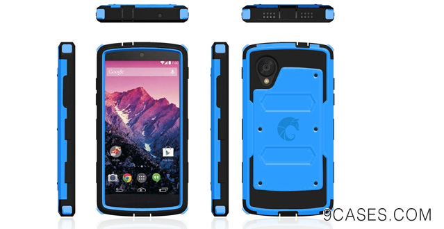 08-i-Blason Armorbox for Google Nexus 5 by LG Dual Layer Hybrid Full-body Protective Case with Front Cover and Built-in Screen Protector and Impact Resistant Bumpers (Blue)