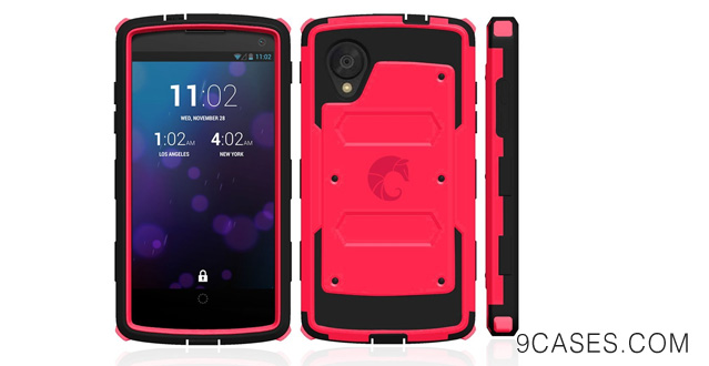 10-i-Blason Armorbox for Google Nexus 5 by LG Dual Layer Hybrid Full-body Protective Case with Front Cover and Built-in Screen Protector and Impact Resistant Bumpers (Google Nexus 5, Red)