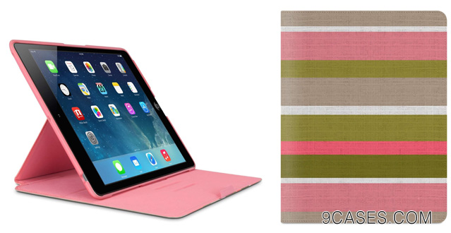 11-Belkin FormFit Cover Case for iPad Air (iPad 5) (Pink Stripe)