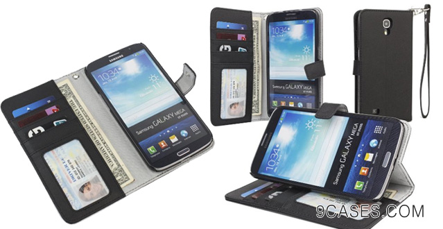 11-Evecase Wallet Folio Leather Case with Hand Strap for Samsung Galaxy Mega 6