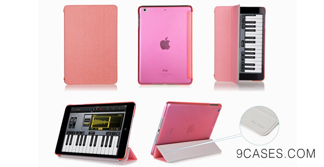 12. Bear Motion Premium Folio Case with Stand for Apple iPad (Support Smart Cover Function) (iPad Mini 2 with Retina Display, Trans Pink)