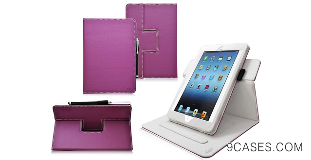 13. Ionic New 2014 Apple iPad Mini with Retina Display / Apple iPad Mini 2 2-Tone Designer Leather Case Cover with stand Tablet 4G LTE (Purple/White)