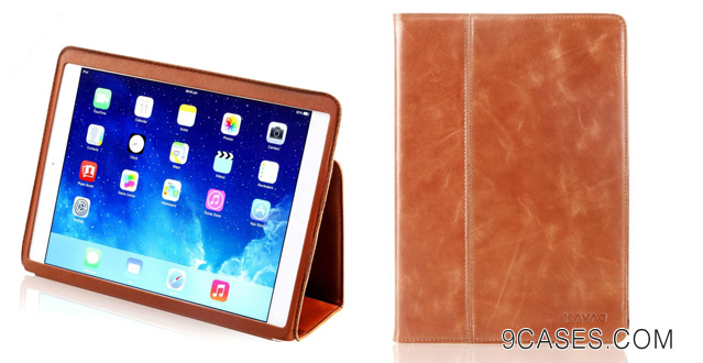 13-KAVAJ iPad Air leather case cover Berlin for the new Apple iPad Air cognac brown genuine leather with stand-up feature