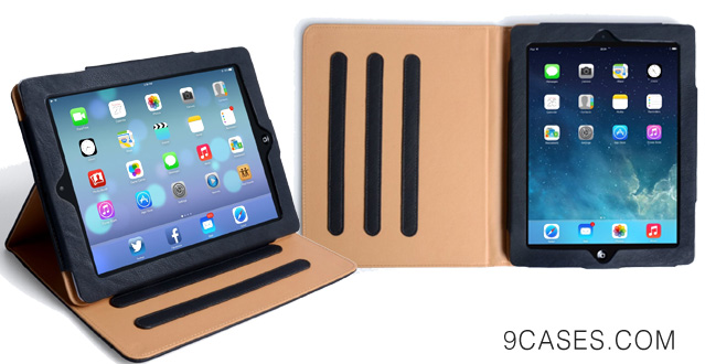 14-Caseflex iPad Air Case Black PU Leather Stand Cover With Sleep Wake Function