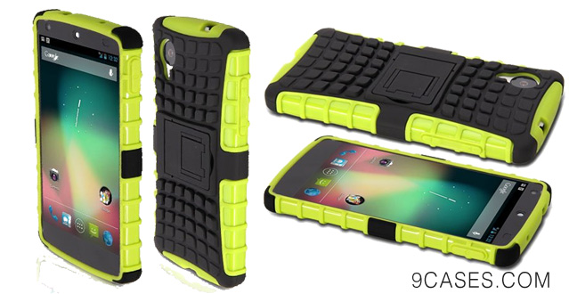 14-GMYLE (R) Green Slim Fit TPU & PC Armor Stand Case for LG Google Nexus 5
